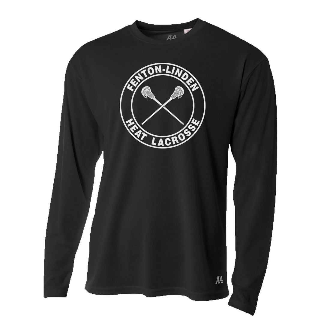 Fenton/Linden Lacrosse - Circle Heat Logo - Dri-Fit LS T-shirt - Black