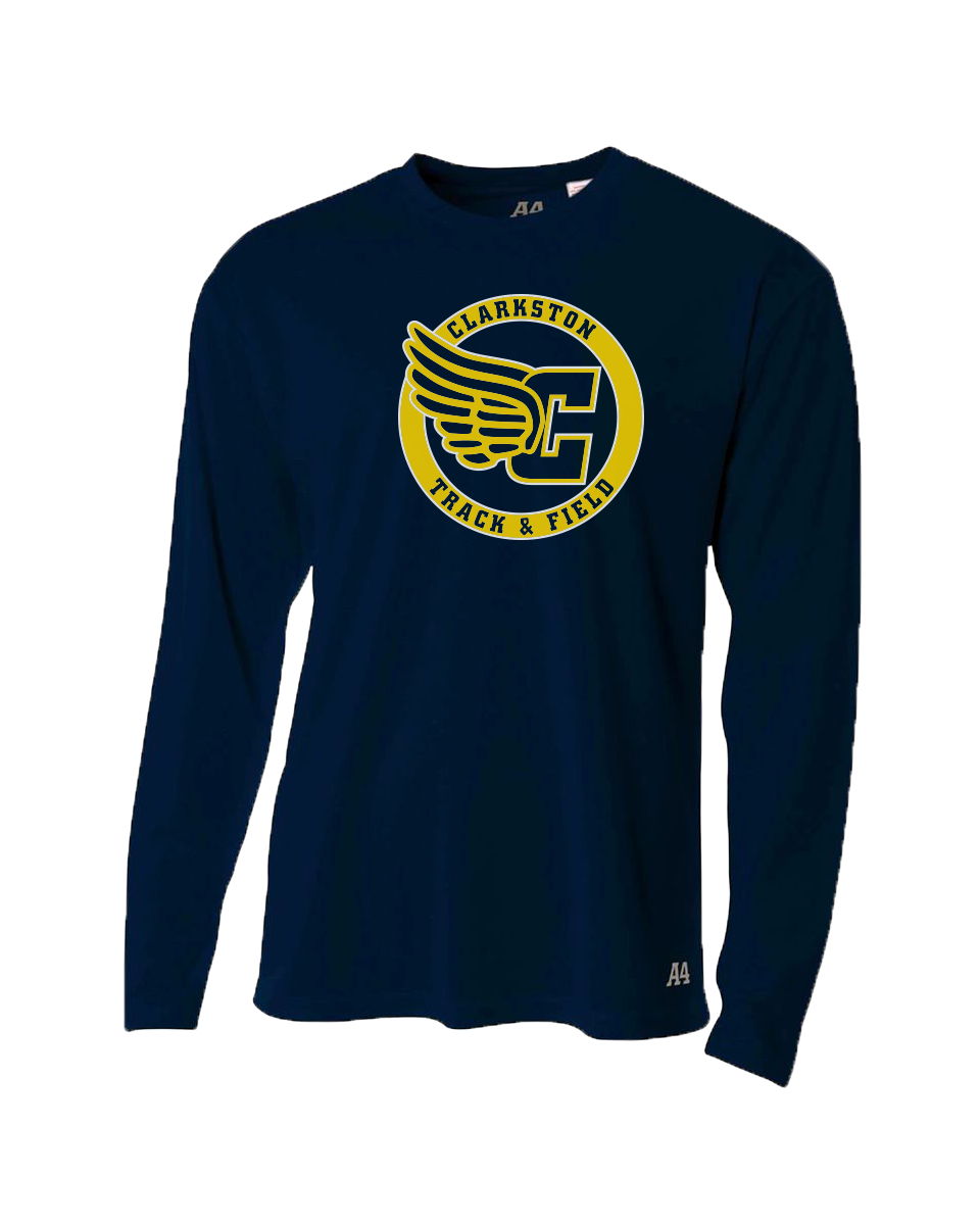 Clarkston Track Winged C Circle Logo Dri-Fit LS T-shirt - Navy