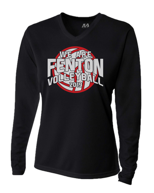 Fenton Volleyball - Women's Dri-Fit LS V-Neck - Black - VB Logo
