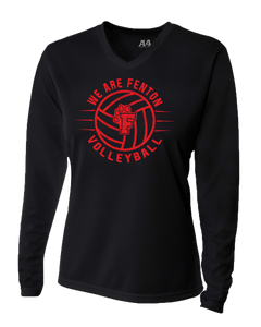 Fenton Volleyball - Women's Dri-Fit LS V-Neck - Black - distressed VB Logo