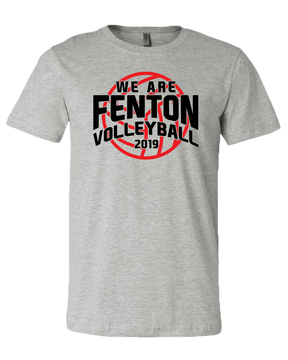 Fenton Volleyball - Unisex Grey Jersey Tee - VB Logo