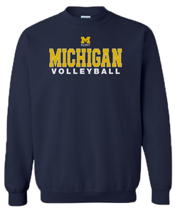 Michigan Volleyball Design Navy Crewneck Sweatshirt