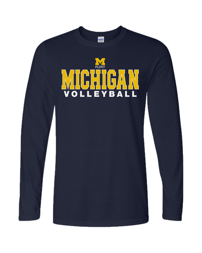 UNISEX Michigan Volleyball Design Navy Long Sleeve Tee