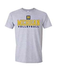 UNISEX Michigan Volleyball Design Sport Grey Short Sleeve Tee