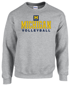 Michigan Volleyball Design Sport Grey Crewneck Sweatshirt