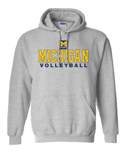 Michigan Volleyball Design Sport Grey Hoodie