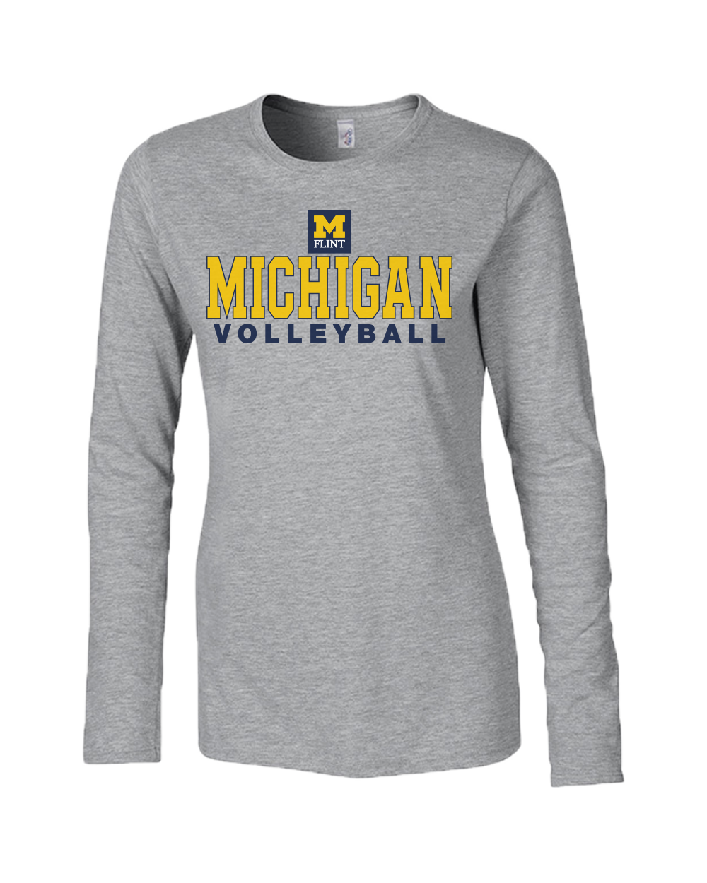 Michigan Volleyball Design Sport Grey Ladies Long Sleeve Tee
