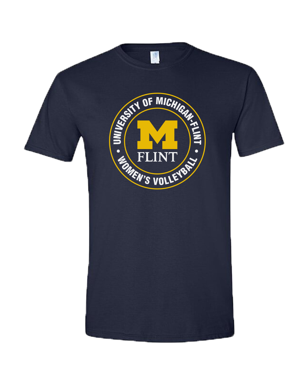 UNISEX UofM Circle Design Navy Short Sleeve Tee
