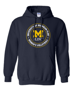 UofM Flint Circle Design Navy Hoodie