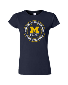 UofM Flint Circle Design Navy Ladies Short Sleeve Tee