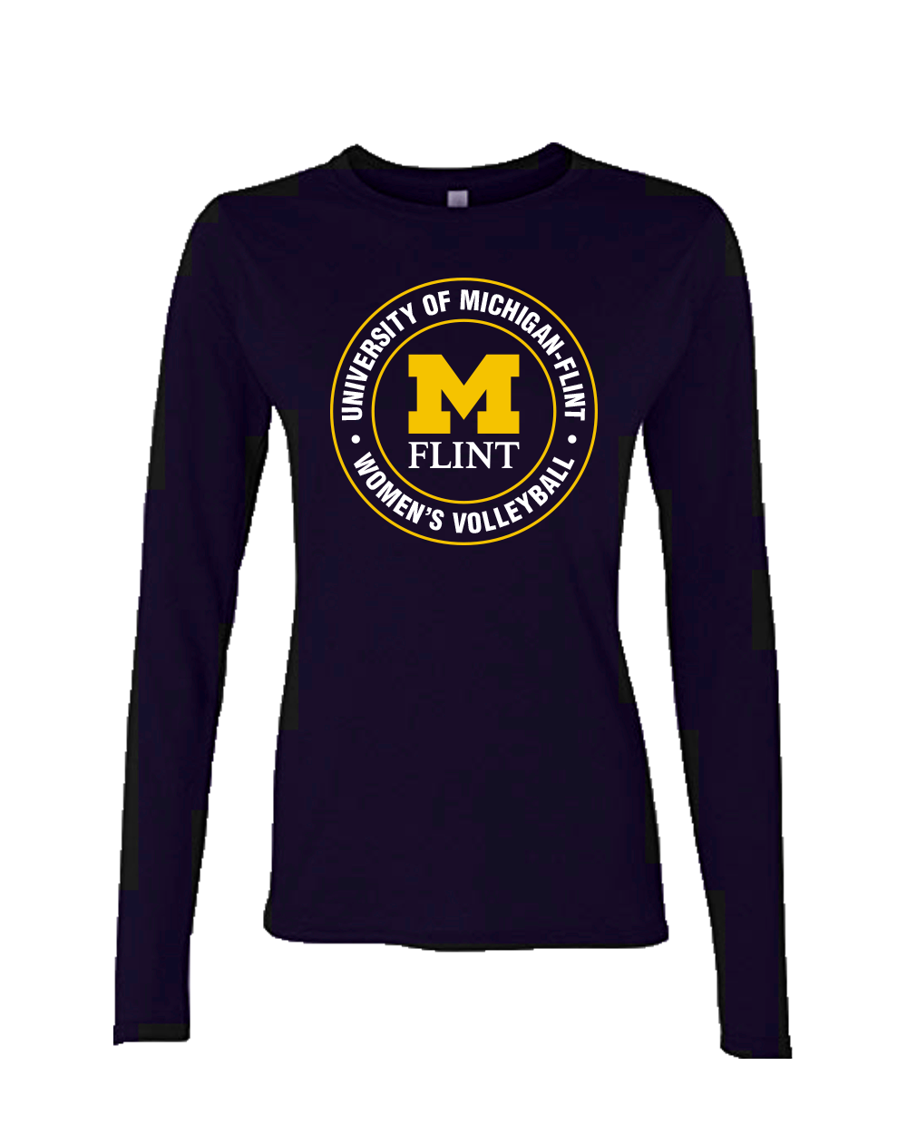 UofM Flint Circle Design Navy Ladies Long Sleeve Tee