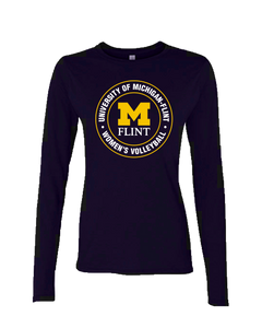 UNISEX UofM Flint Circle Design Navy Long Sleeve Tee