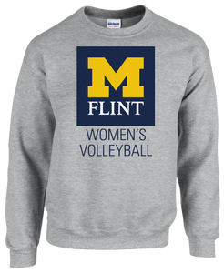UofM Flint W's Volleyball Design Sport Grey Crewneck Sweatshirt