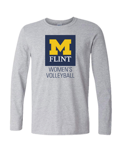 UNISEX UofM Flint W's Volleyball Design Sport Grey Long Sleeve tee