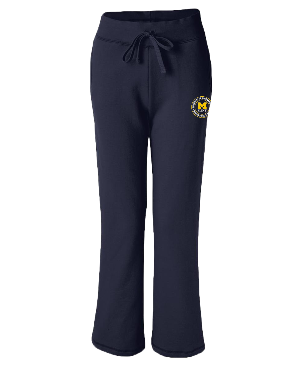 UofM Flint Circle Design Navy Ladies Open Bottom Sweatpants