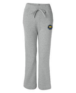 UofM Flint Circle Design Sport Grey Ladies Open Bottom Sweatpants