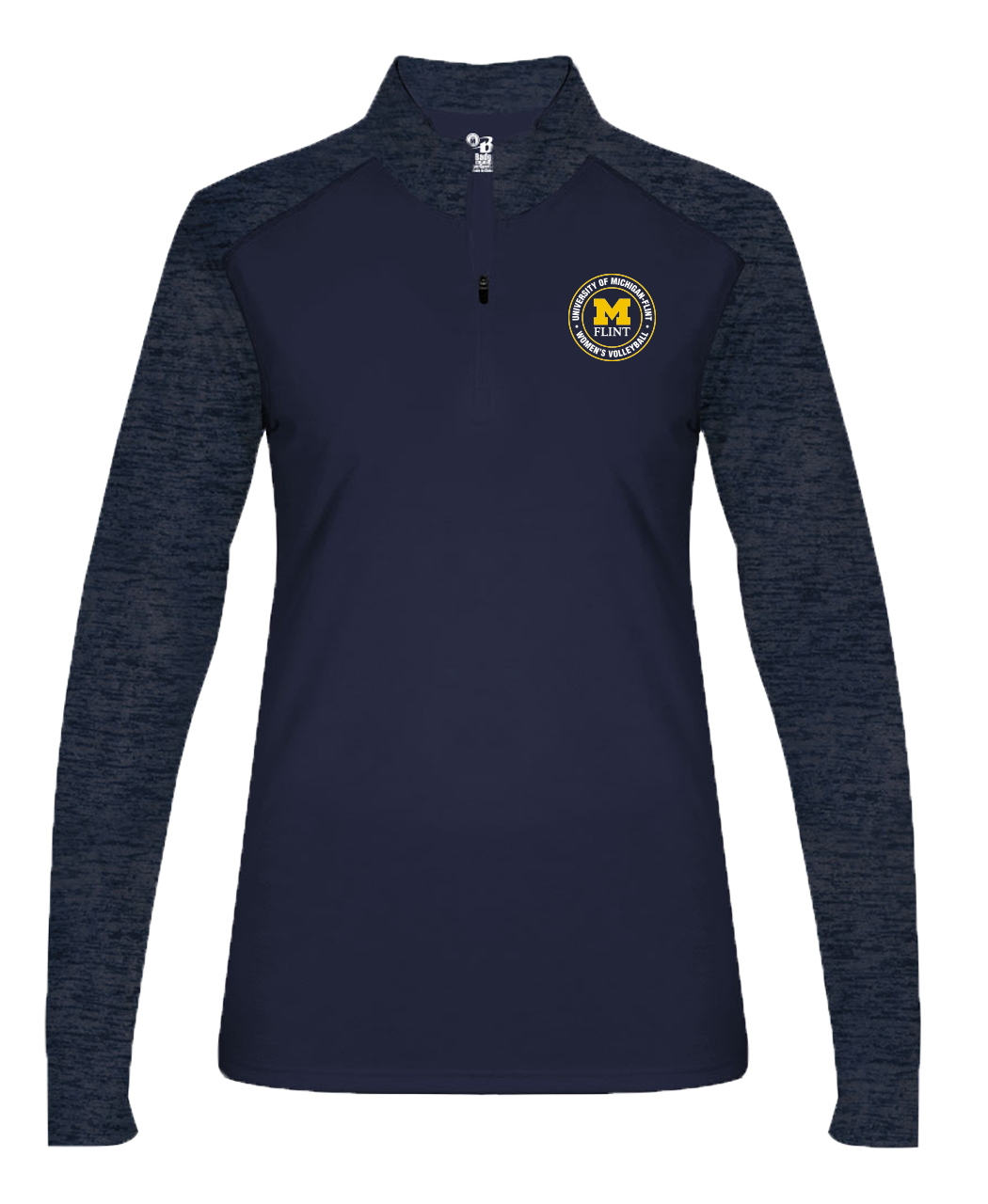 UofM Flint Circle Design Navy Ladies 1/4 Zip