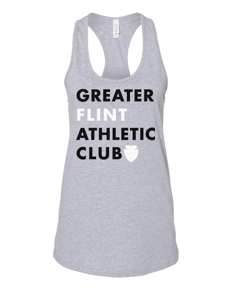GFAC - Word Logo - Women's Racerback cotton/poly tank - Grey