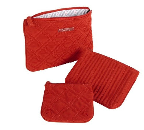Vera Bradley Cosmetic Trio In Chili Pepper