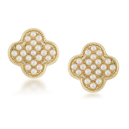 Casablanca cachet pave pearl stud pierced earring