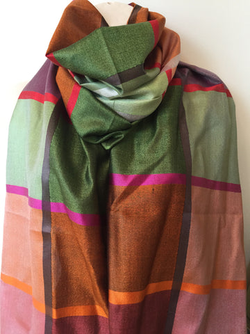 Silk orange green pink scarf
