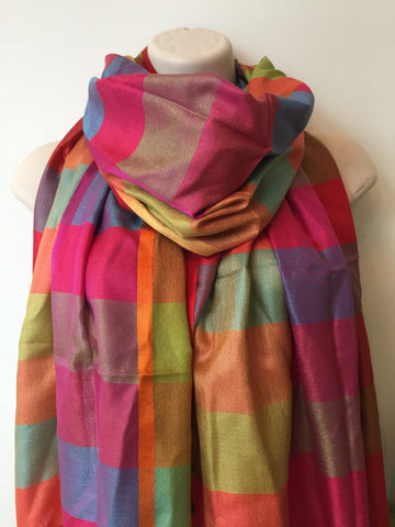 Multi-colored silk check print scarf