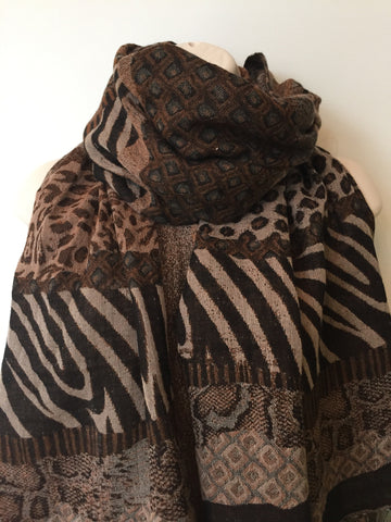 Multi-animal print wool woven scarf