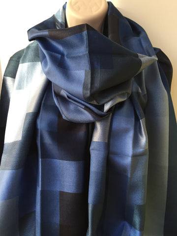 Dark blue silk check print scarf