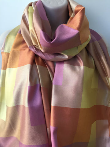 Pink yellow silk check print scarf
