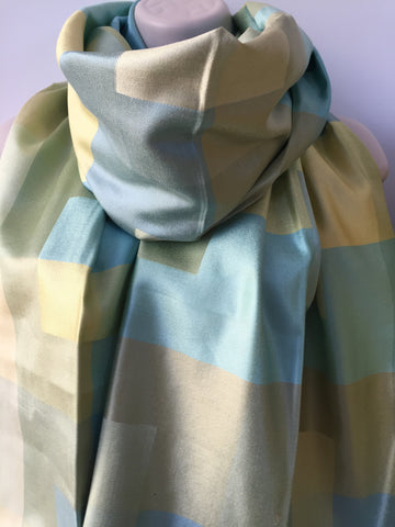 Blue green silk check print scarf