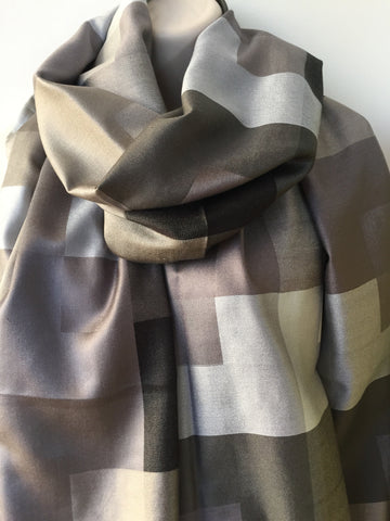 Grey silk check print scarf