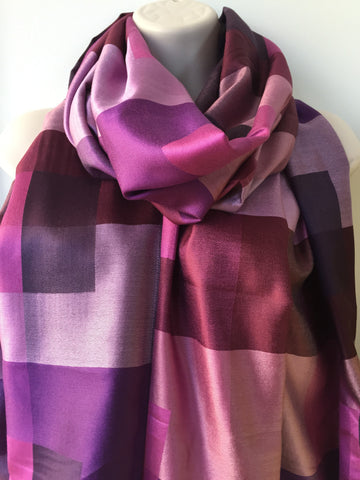 Purple check print silk scarf