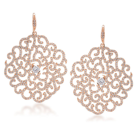 Floral lace rose gold tone drop pierced earrings