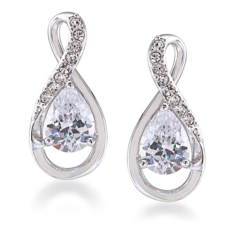 Crystal Stems clear curved pierced earrings