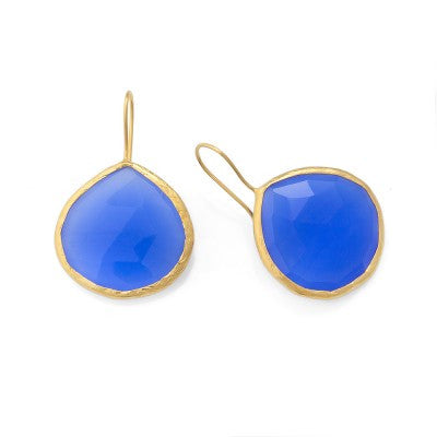 Coralia Leets French Wire Earrings with 26MM Deep Blue Chalcedony Stone