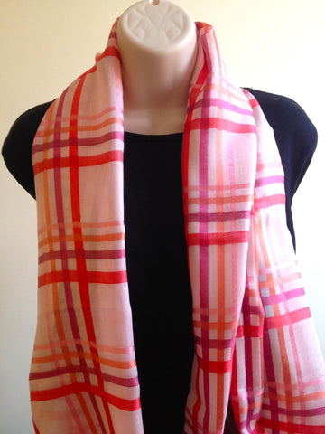 Plaid silk cotton scarf