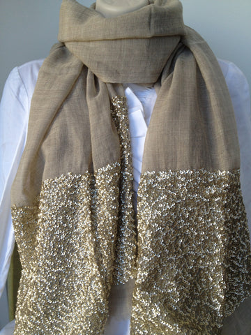 Sequin border beige light wool scarf