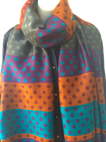 Multi colored polka dot scarf
