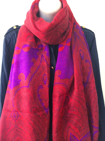 Red and purple light weight wool scarf