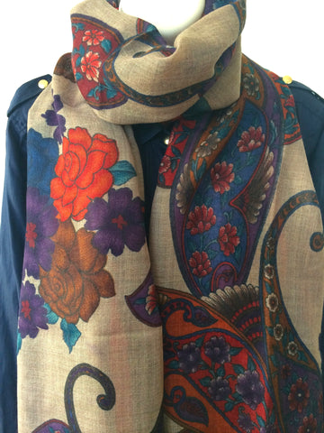 Beige light weight wool scarf