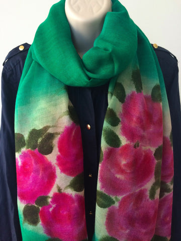 Emerald green scarf with floral print