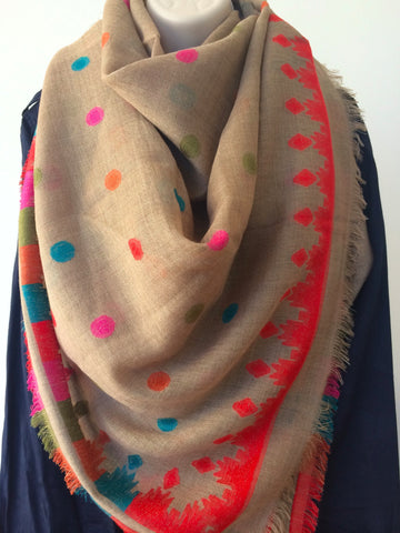 Beige multi colored polka dot scarf