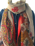 Beige printed light weight wool scarf