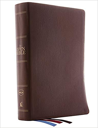 NKJV Open Bible Genuine Leather Brown