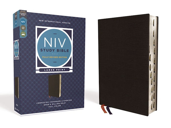 NIV Study Bible/Large Print (Fully Revised Edition) (Comfort Print)-Black Bonded Leather Indexed