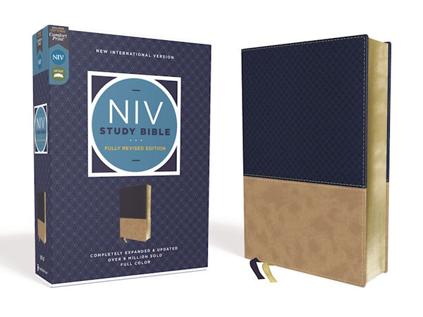 NIV Study Bible (Fully Revised Edition) (Comfort Print)-Navy/Tan Leathersoft