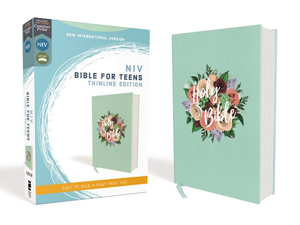 NIV Thinline Bible For Teens (Comfort Print)-Floral Cloth Over Board