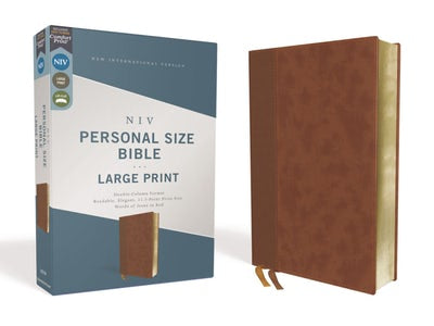 NIV Personal Size Large Print Leathersoft Bible, Red Letter edition, Brown