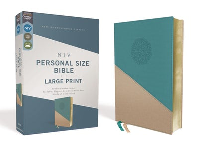 NIV Personal Size Large Print Leathersoft Bible, Red Letter edition, Teal/gold