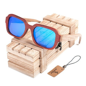 Unisex Mirror Sunglasses Wooden Frame - Slappable Shades